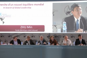 From right to left : Zhu Min (IMF), Pascal Lamy (WTO), Anne-Marie Slaughter (Princeton), Mario Monti (Prime Minister of Italy), Jean Pisani-Ferry (Le Cercle des économistes), François-Xavier Pietri (TF1 / LCI)