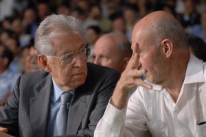 Pascal Lamy (WTO Managing Director) debating with Mario Monti (Prime Minister of Italy)