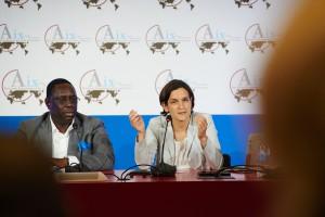 Macky Sall, Président du Sénégal au côté d'Esther Duflo, professeure au MIT