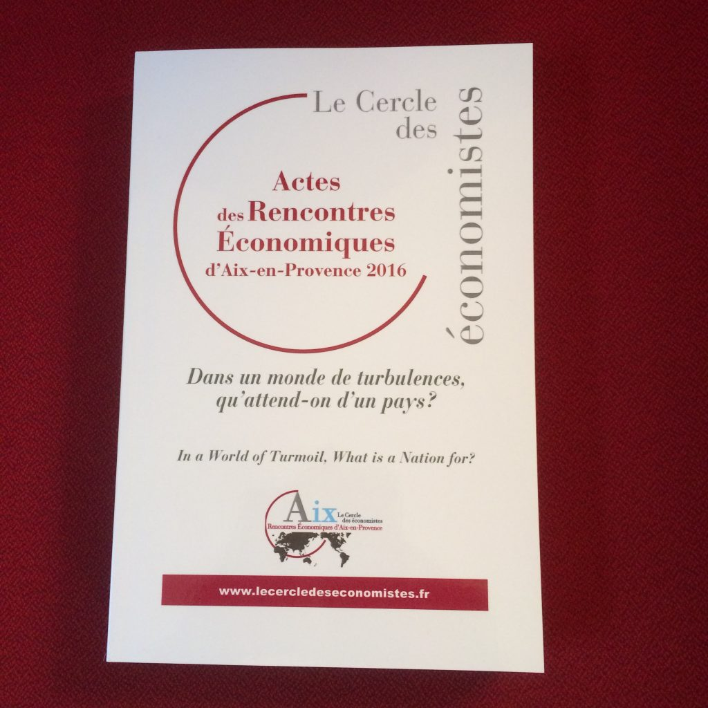 Rencontres economiques d'aix en provence 2016
